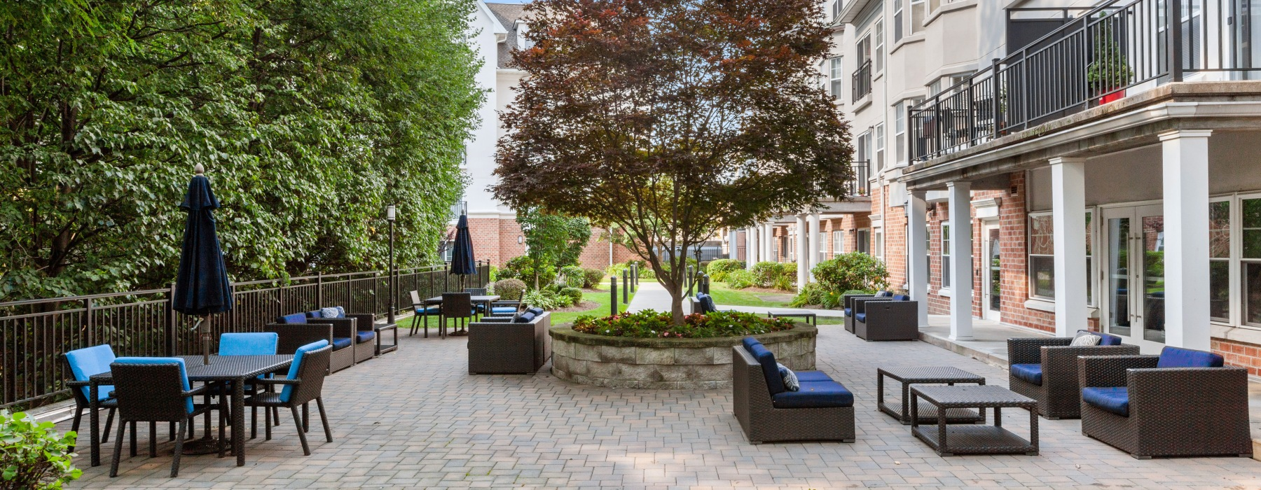 outdoor courtyard with seating area