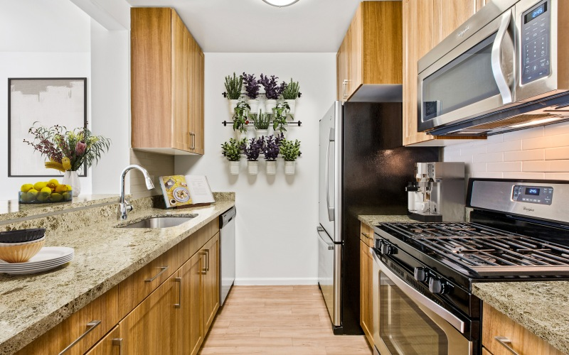 open kitchen with counterspace and appliances