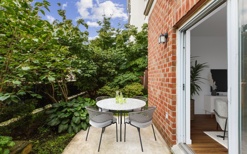 outdoor patio space with seating area